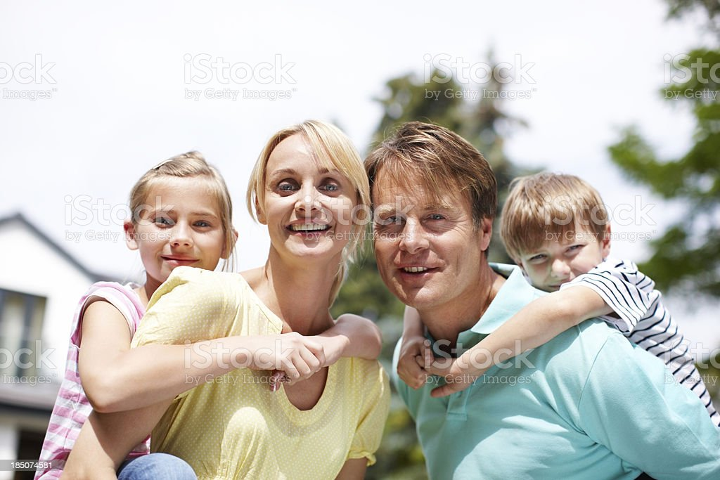 Blissful, closeknit family royalty-free stock photo