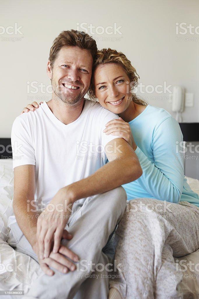 Blissful mature couple stock photo