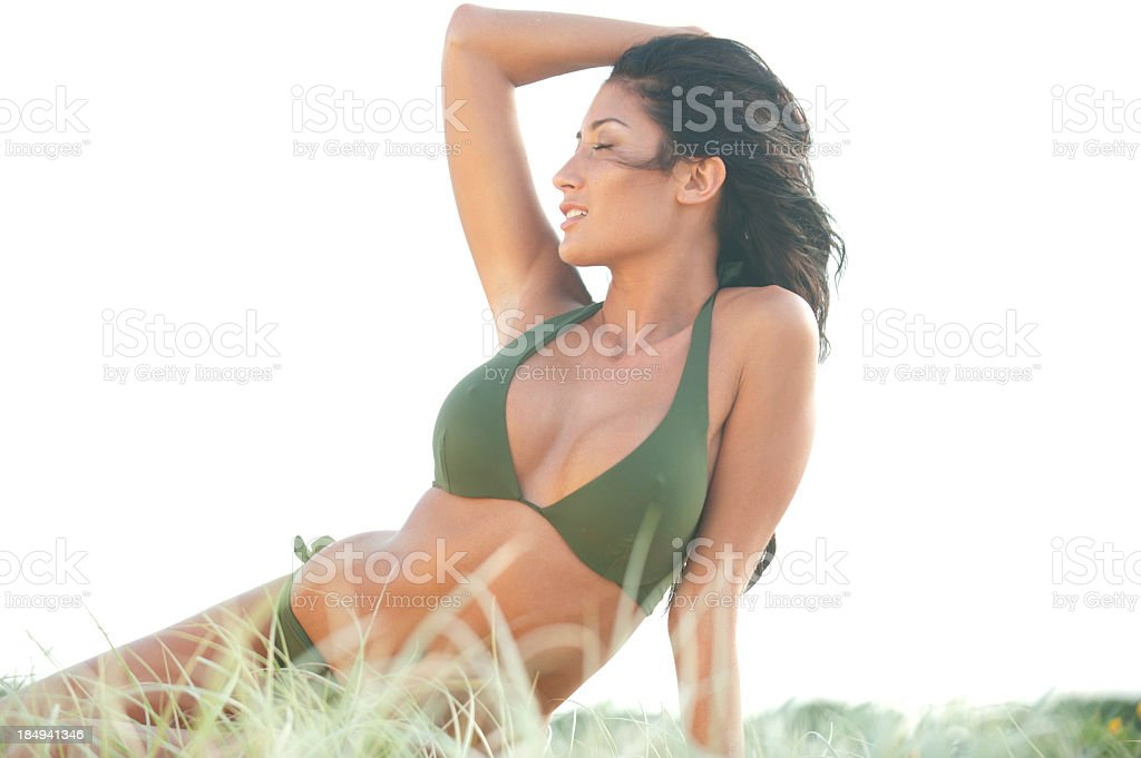 Blissful woman with beautiful body royalty-free stock photo