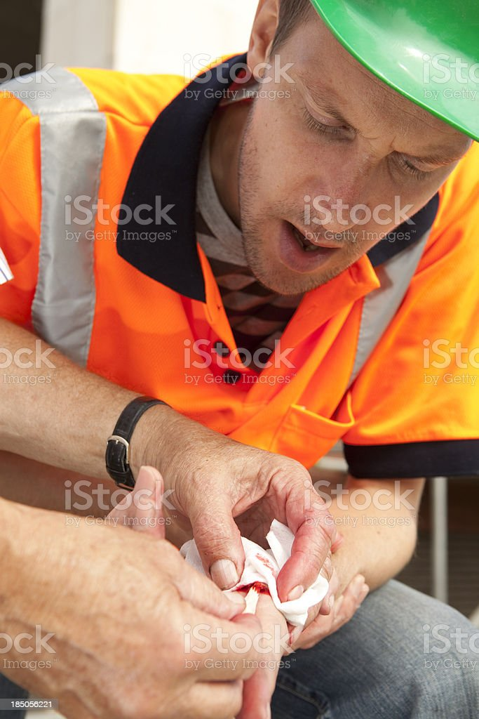 Blister in hand. Accident at work. stock photo