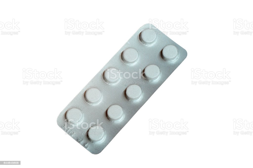 Blister pack of pills isolated on white stock photo