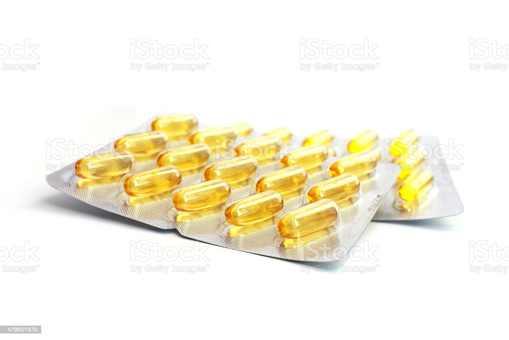 2 blisters of Fish oil isolated on white background stock photo