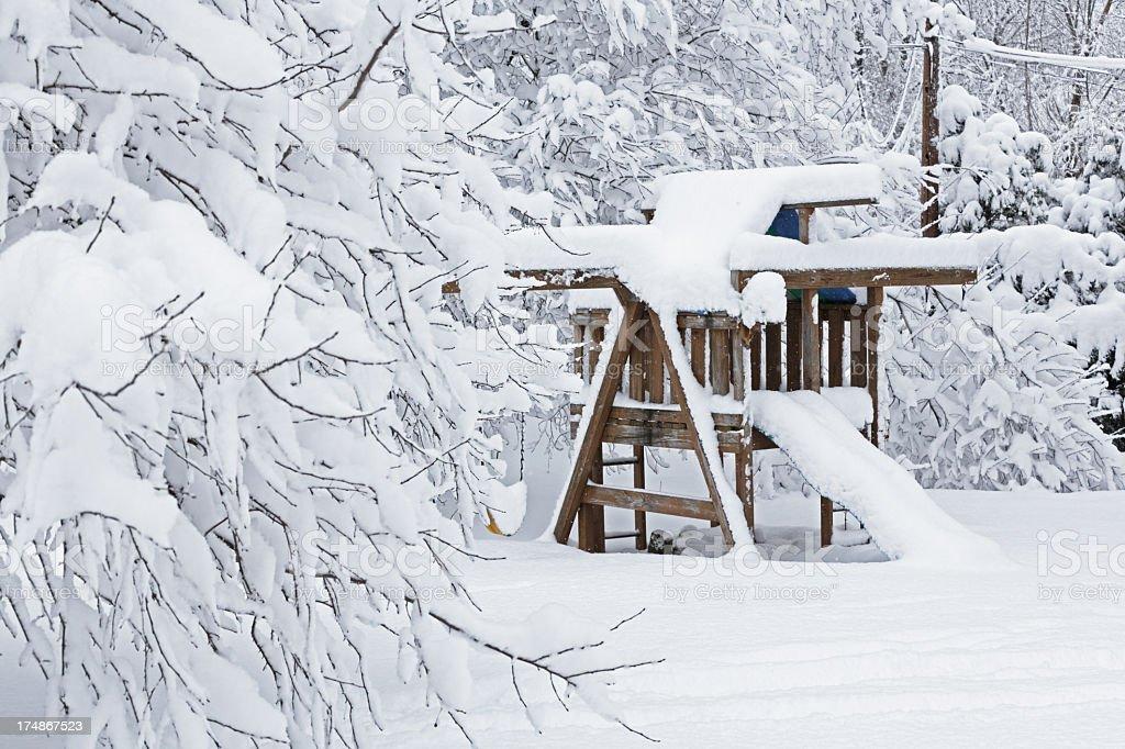 Blizzard Back Yard Swingset stock photo