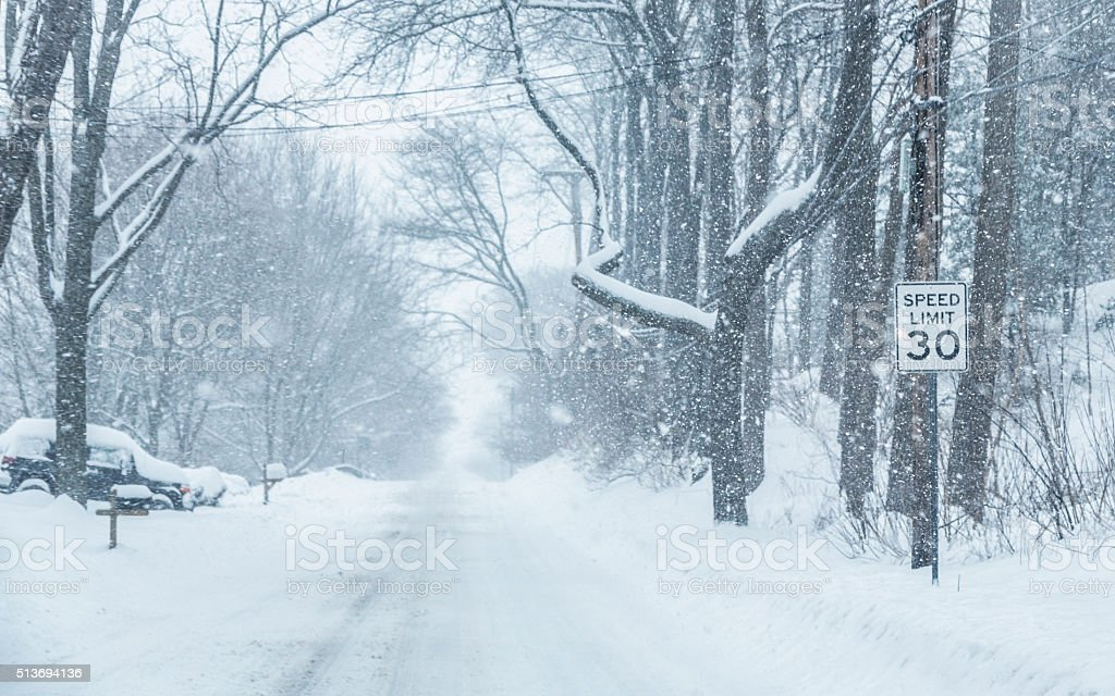 Blizzard Blowing Snowflake Rural Road Speed Limit Road Sign stock photo