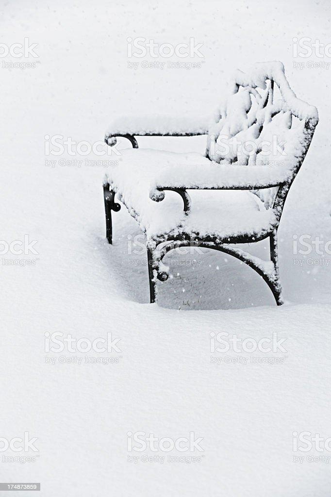 Blizzard Garden Bench stock photo