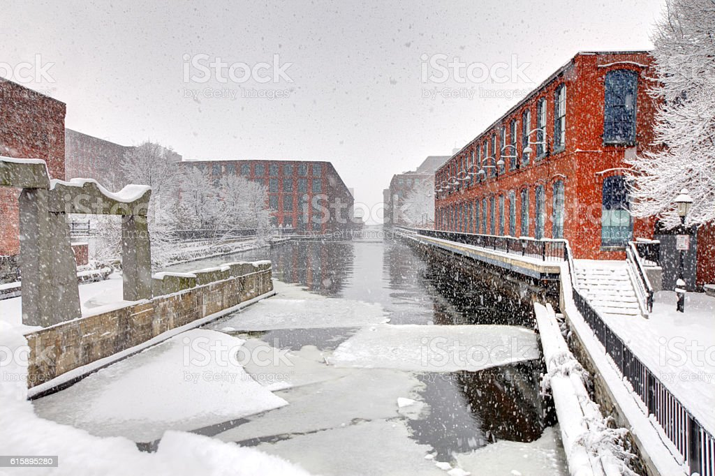 Blizzard in Lowell, Massachusetts stock photo