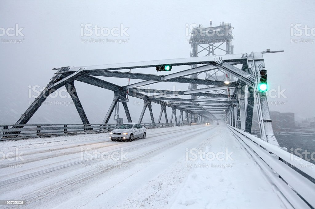 Blizzard in Portsmouth, New Hampshire stock photo