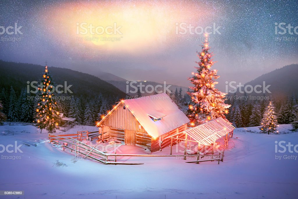 Blizzard lonely house stock photo