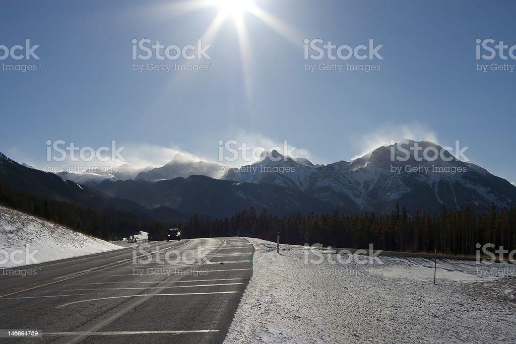 blizzard on mountain tops royalty-free stock photo