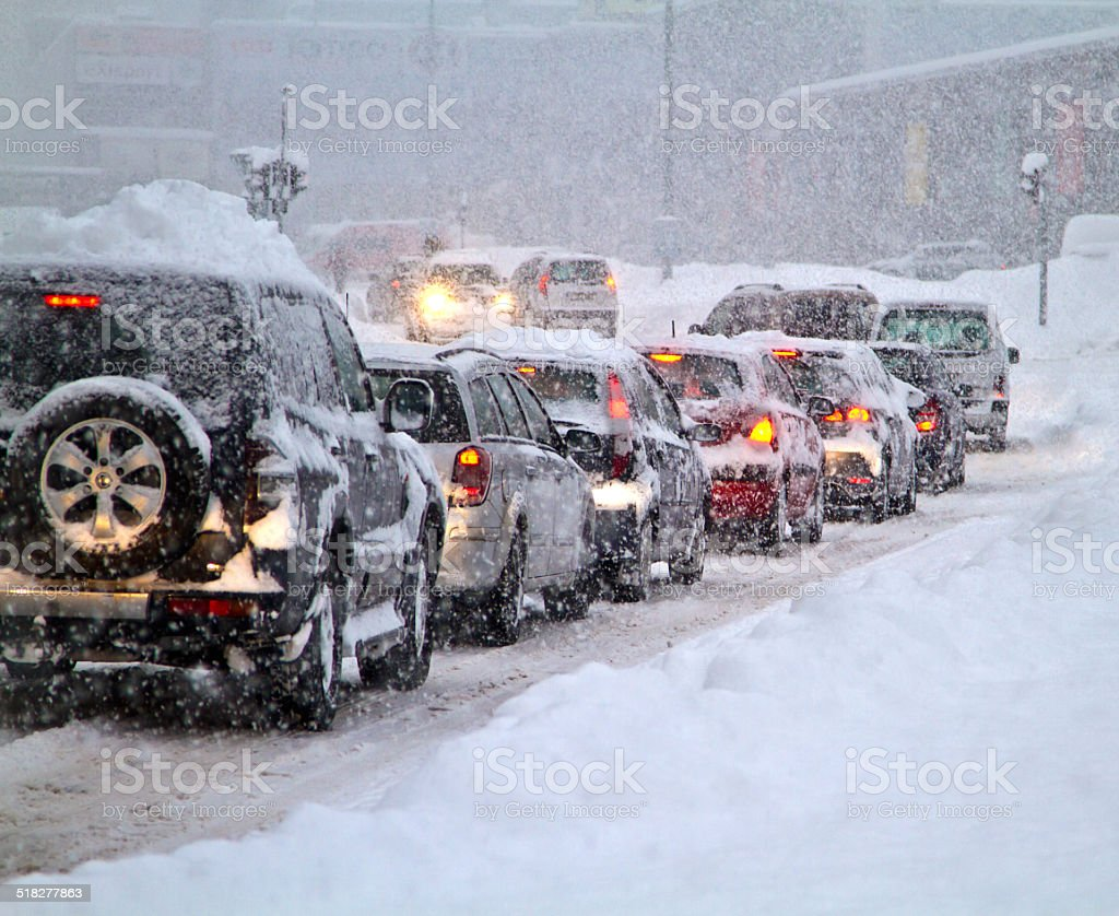 Blizzard on the road. stock photo