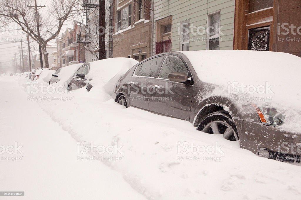 blizzard scene stock photo