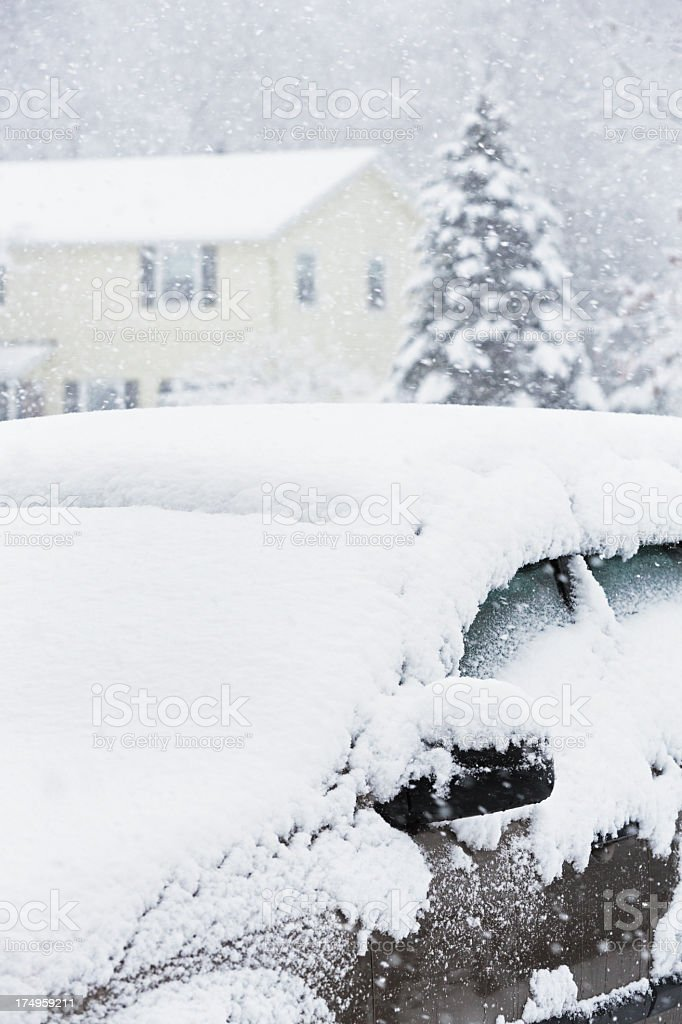 Blizzard Snow Covered Car stock photo