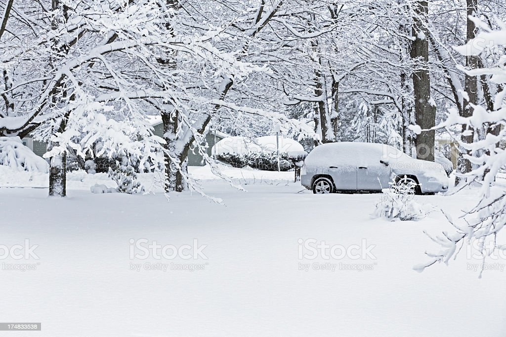 Blizzard Snow Neighborhood stock photo