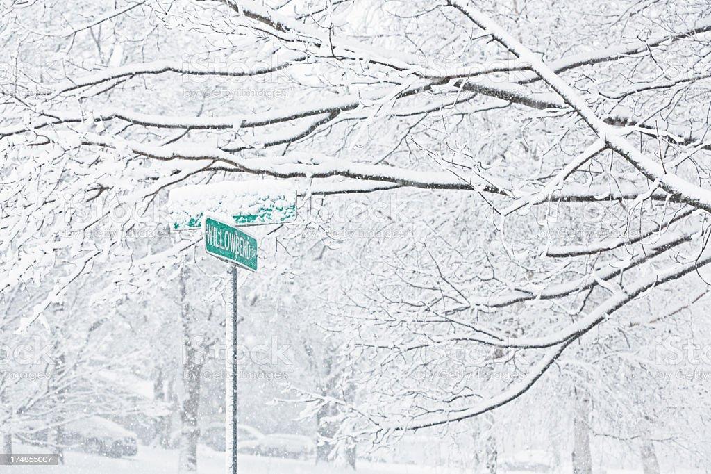 Blizzard Snow Street Signs stock photo