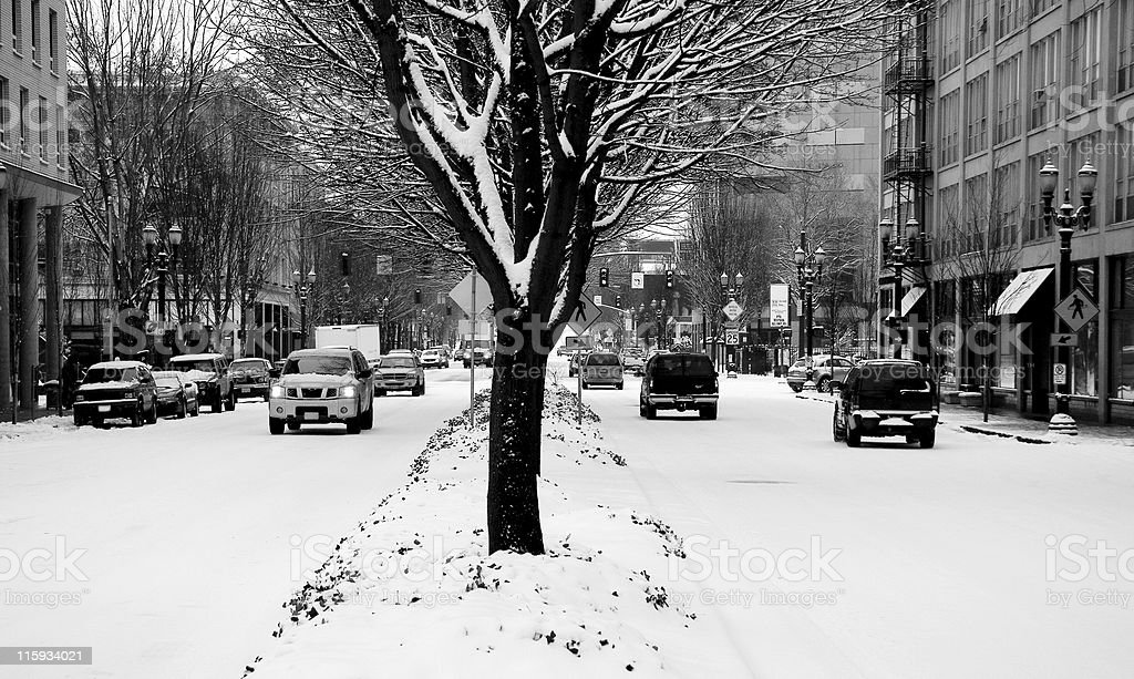 Blizzard: Winter on a City Street royalty-free stock photo