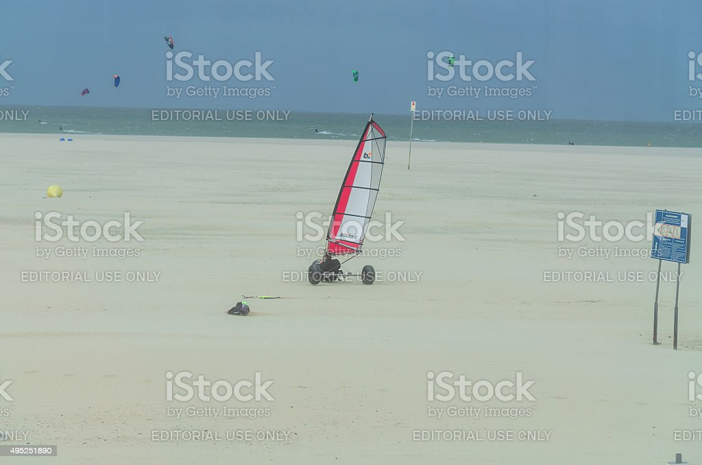 Blocart on the North Sea beach stock photo