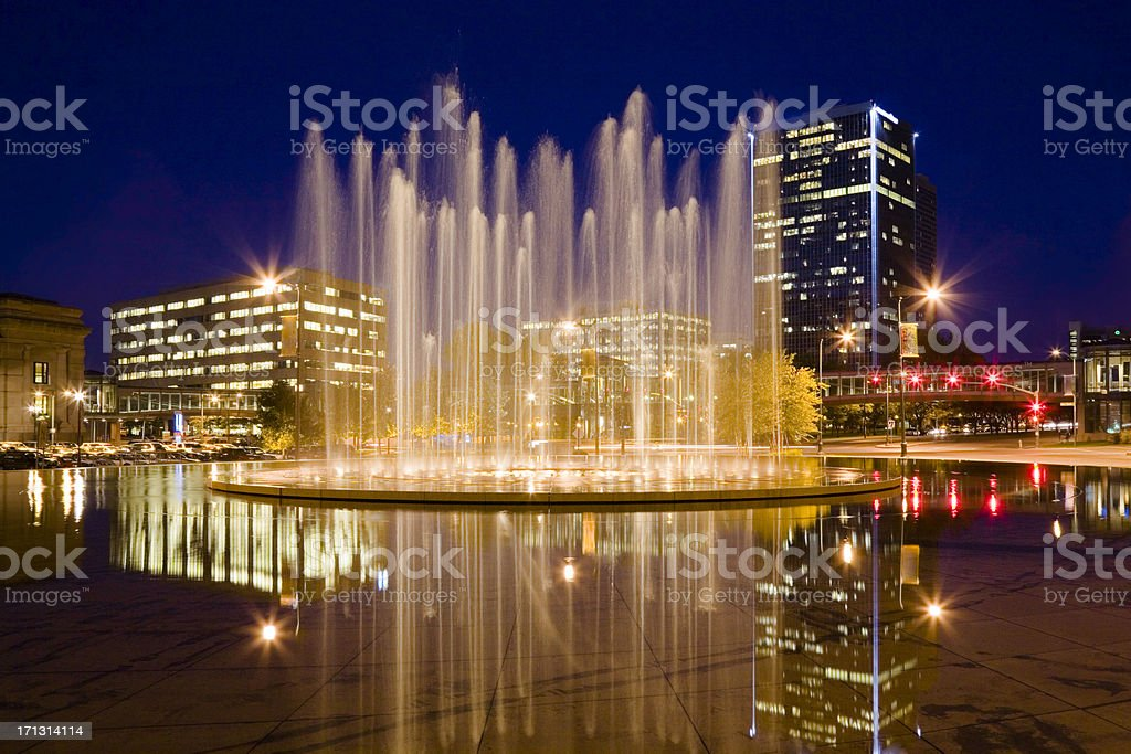 Bloch Memorial Fountain and Washington Square Park, Kansas City Missouri stock photo