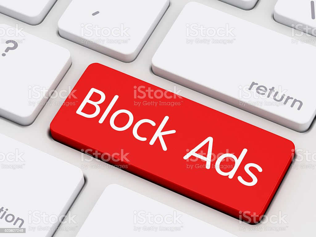 Block Ads written on keyboard key stock photo