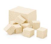 Block and cubes of Tofu