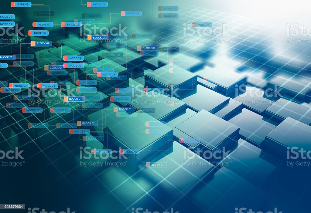 Block chain network concept on technology background stock photo