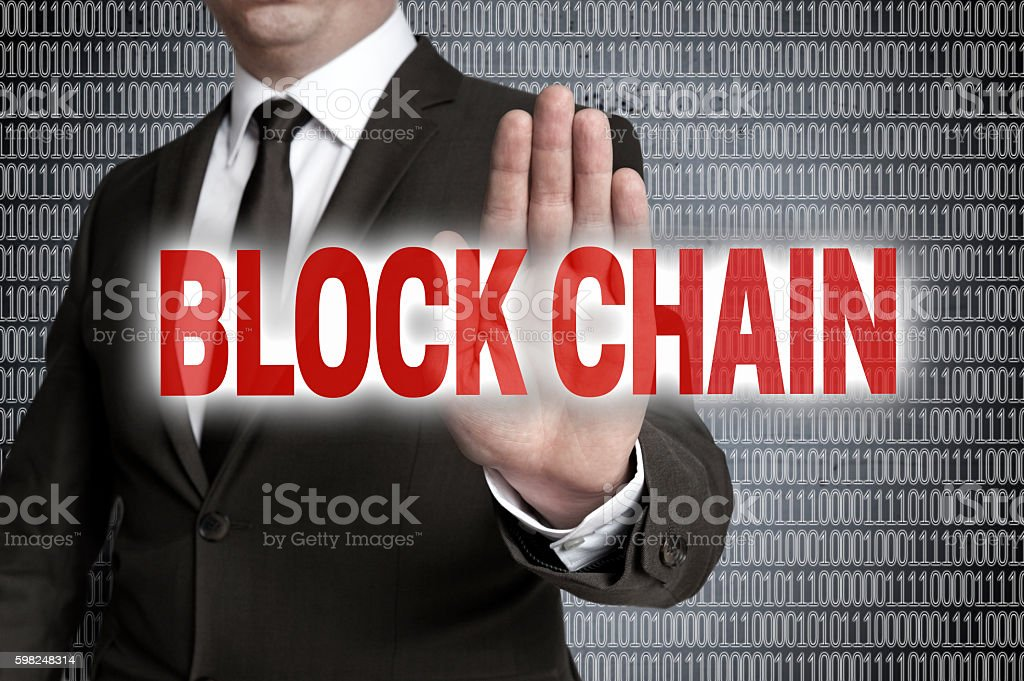 Block Chain with matrix is shown by businessman stock photo