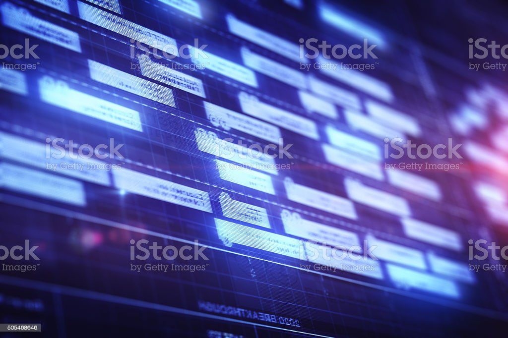 Block diagram on LCD display stock photo