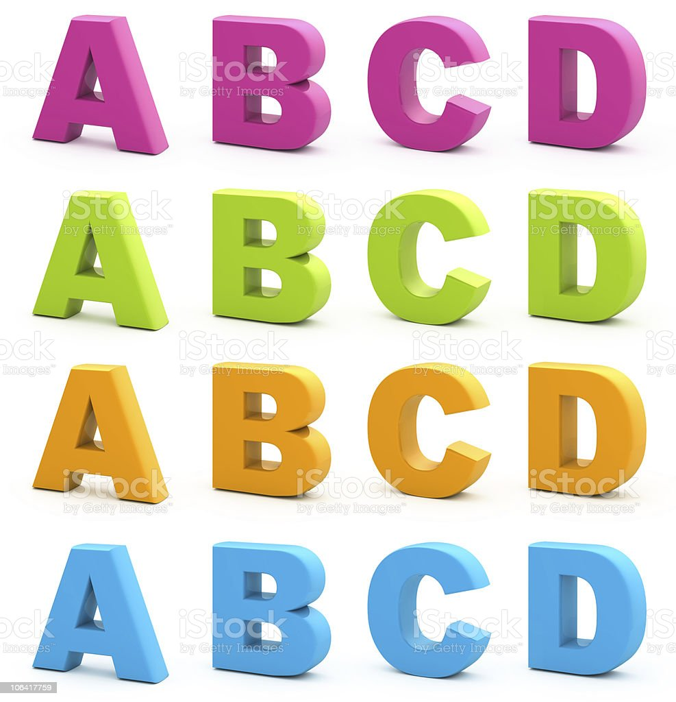 3D block letter alphabet in four colors stock photo