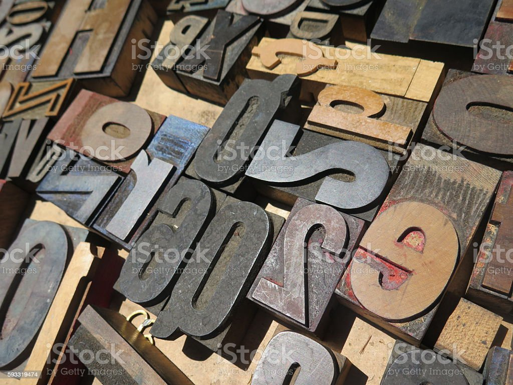 Block letters Alphabet and numbers stock photo