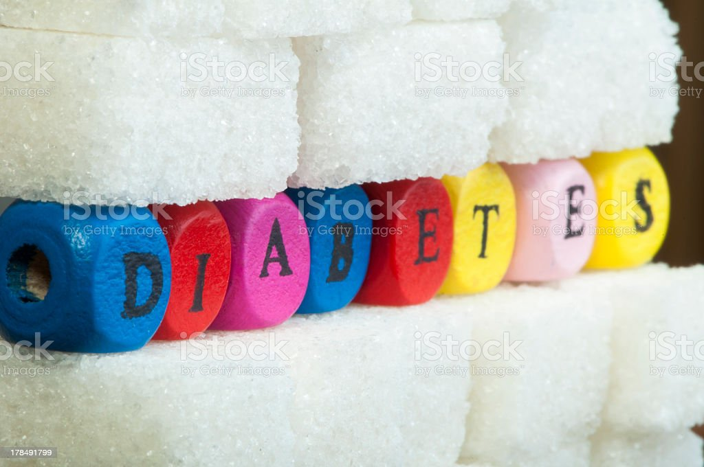 Block letters with the word diabetes spelled out royalty-free stock photo