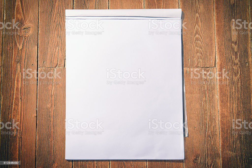 Block notes on old colored wooden board stock photo