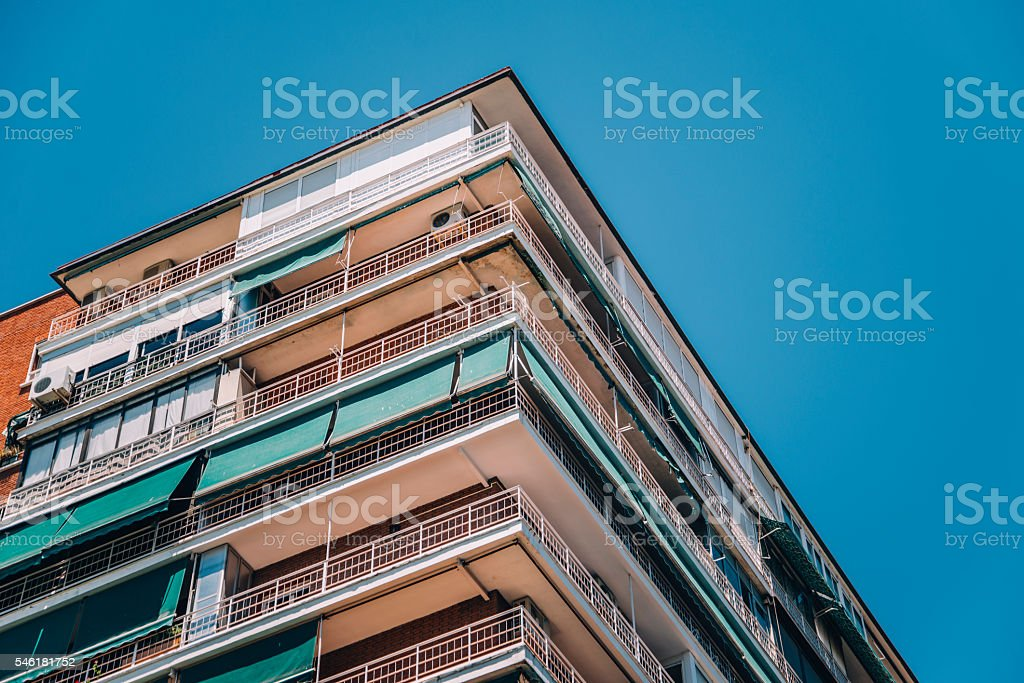 Block of apartments in Madrid stock photo