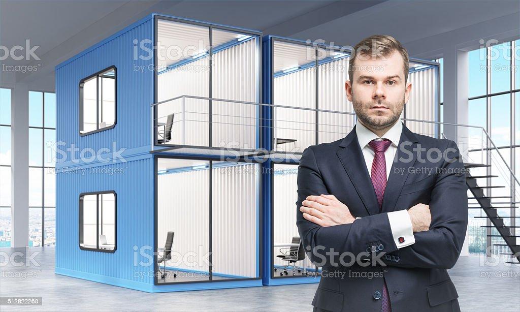 Block of cabins stock photo