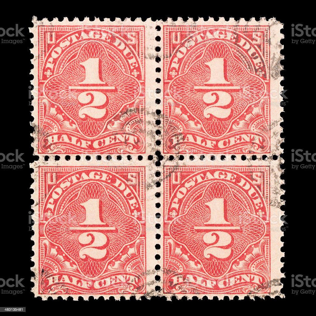 Block of Cancelled 1/2 Cent Postage Due 1931 U.S. Postage Stamps stock photo