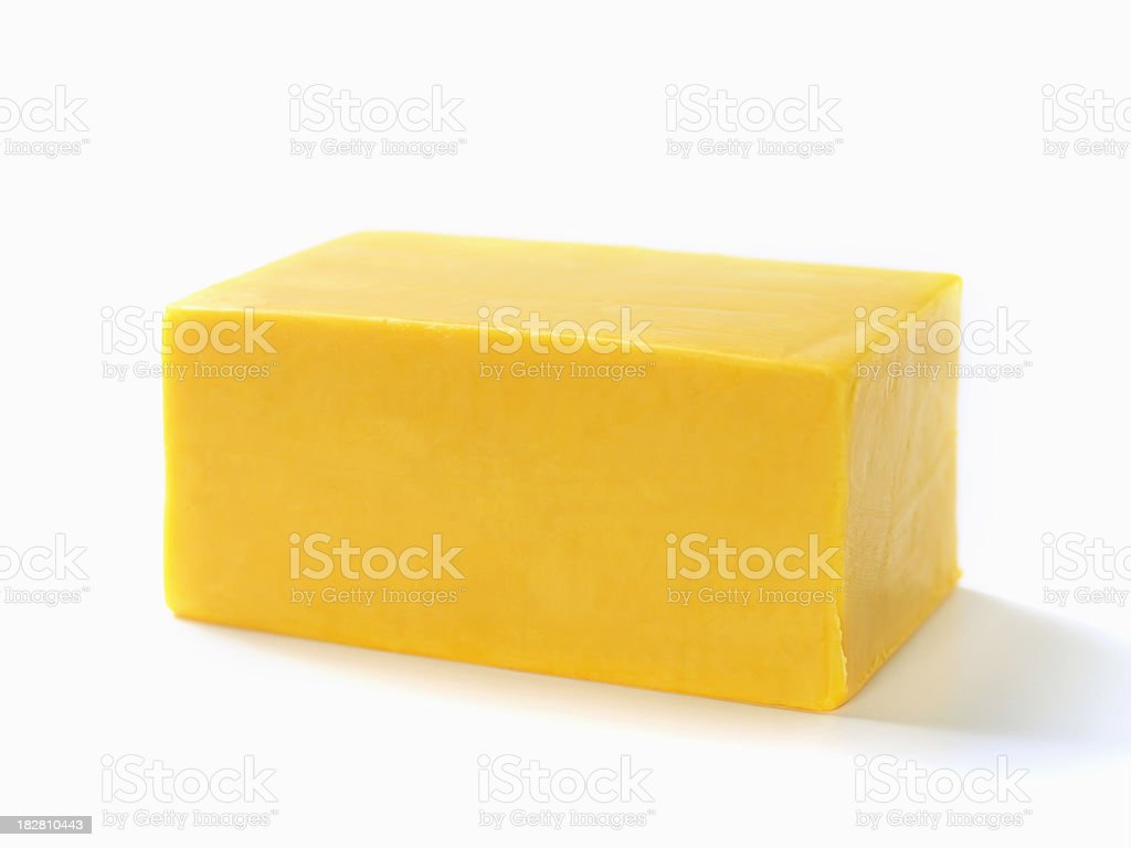 Block of Cheddar Cheese stock photo