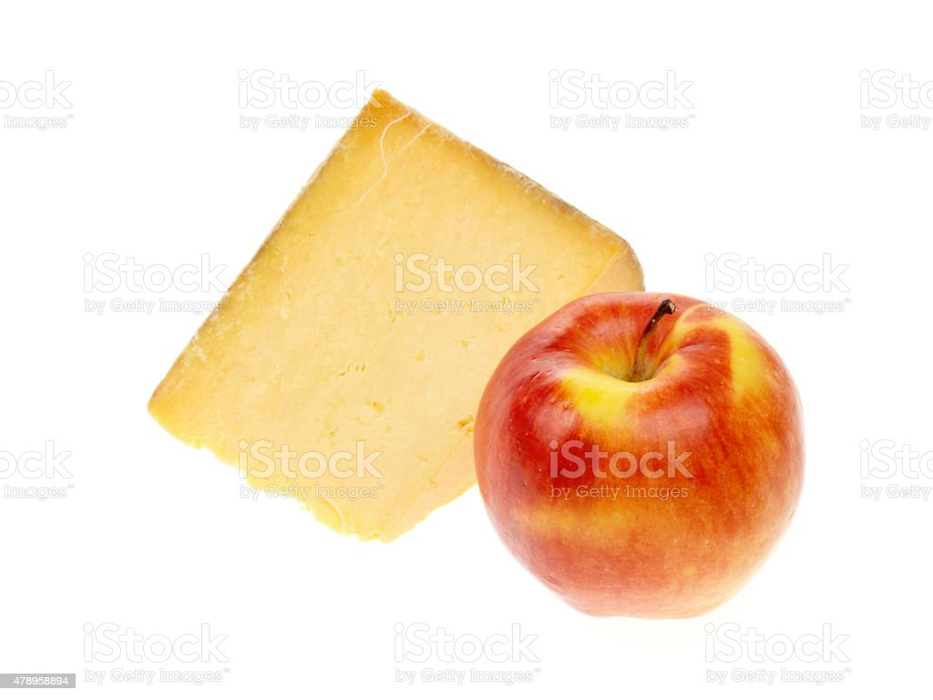 Block of Cheshire Cheese With A Red Apple stock photo