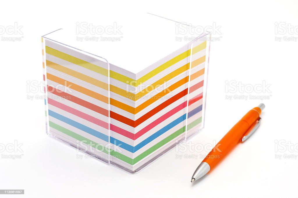Block of colorful note papers stock photo