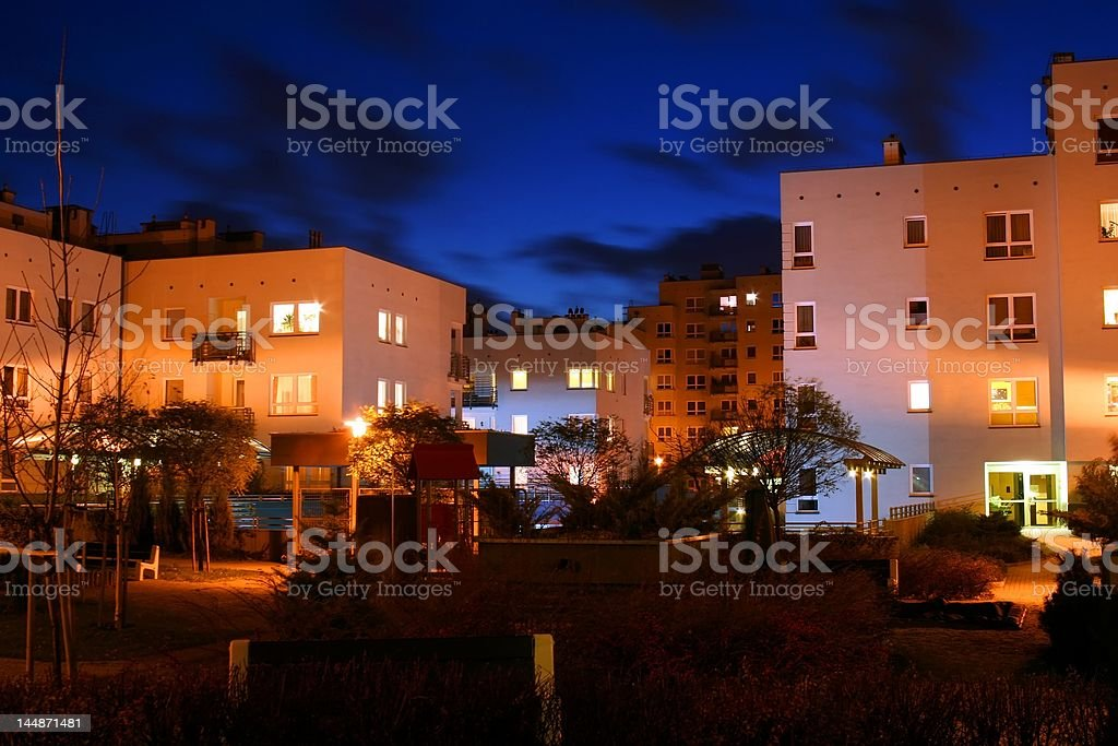Block of flats in the evening royalty-free stock photo