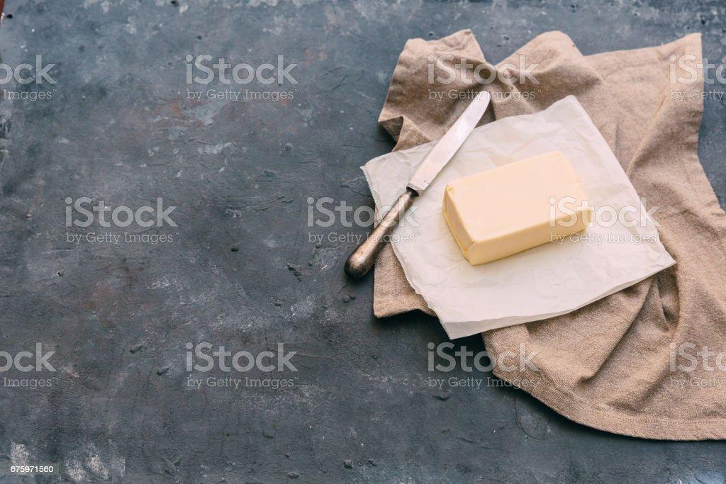 Block of fresh butter stock photo
