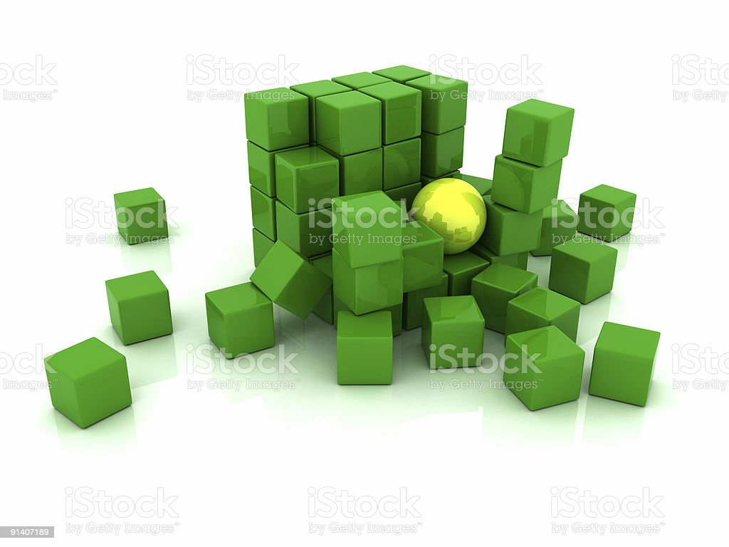Block of green cubes and big yellow sphere royalty-free stock photo