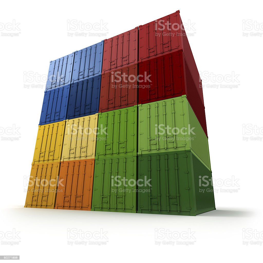 Block of piled cargo containers stock photo