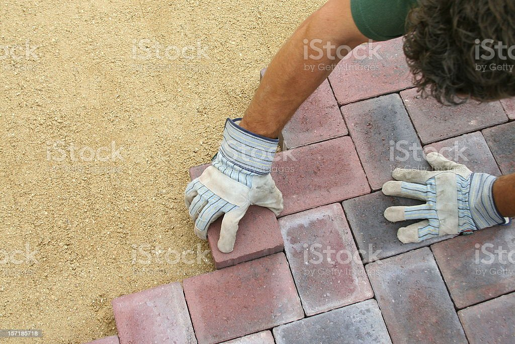 Block paving being layed royalty-free stock photo