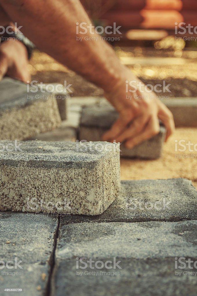 Block paving being layed stock photo