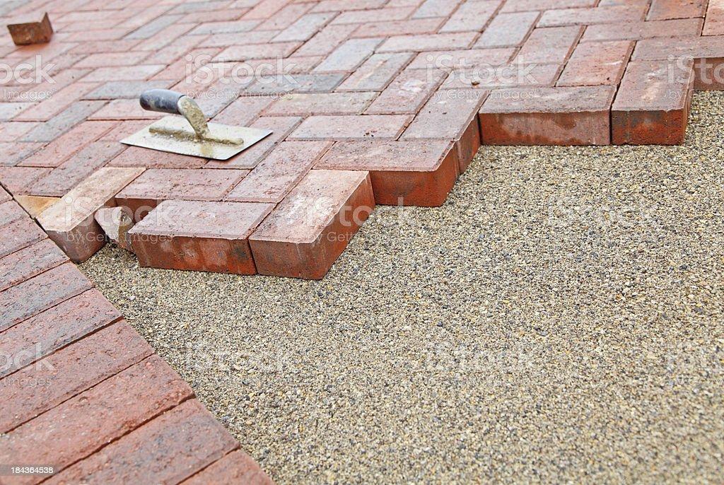 block paving under construction stock photo