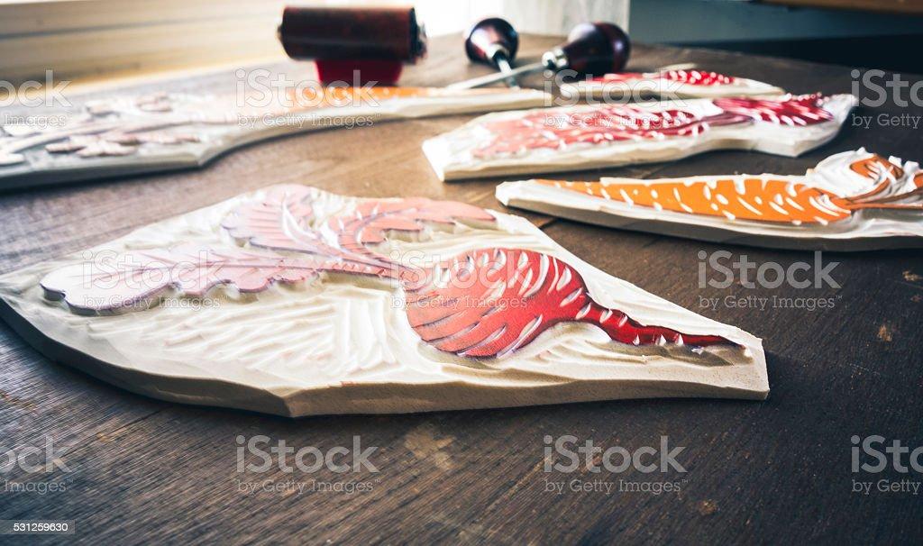 Block Printing Materials stock photo