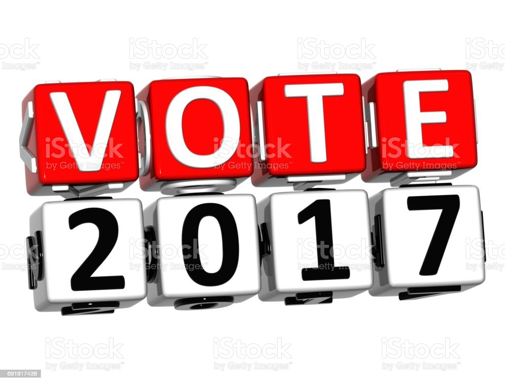 3D Block Red Text VOTE 2017 over white background. stock photo