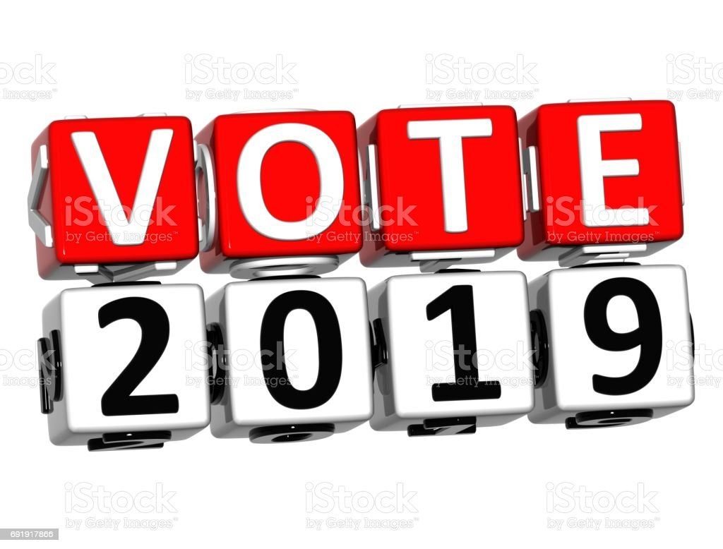 3D Block Red Text VOTE 2019 over white background. stock photo