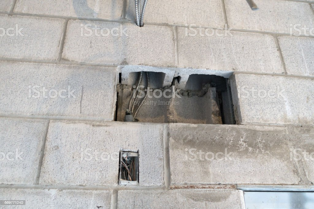 Block Wall Opening for Wiring stock photo