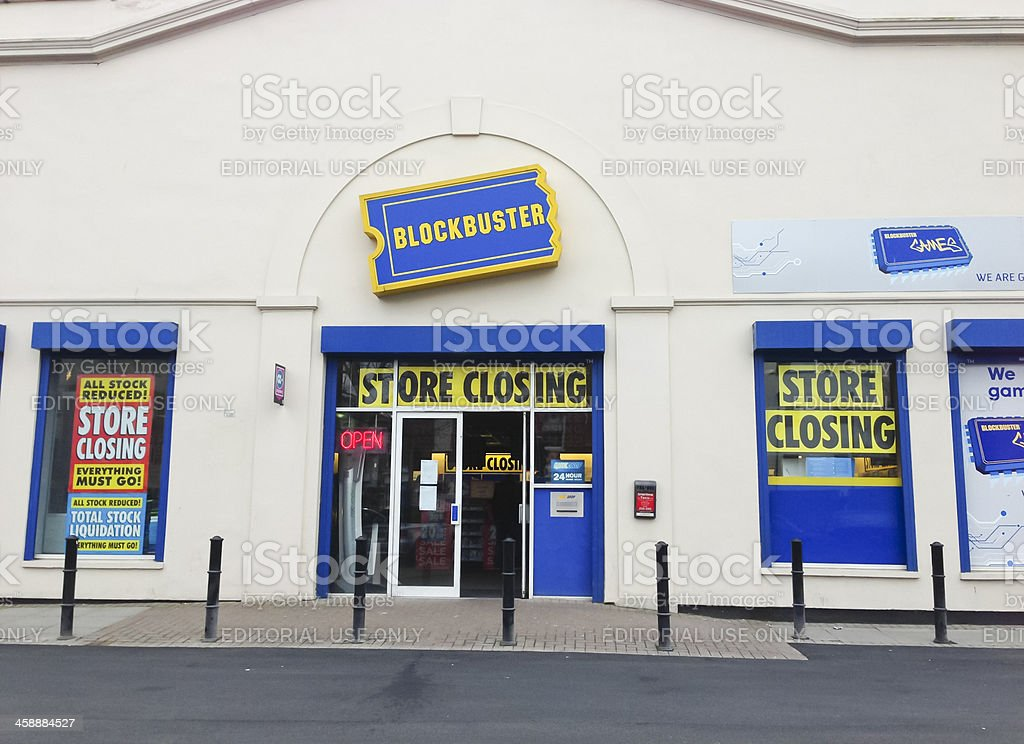 Blockbuster video shop closing sale stock photo