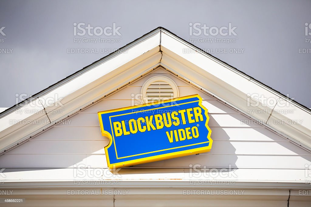 Blockbuster Video Sign Above Entrance to Store stock photo