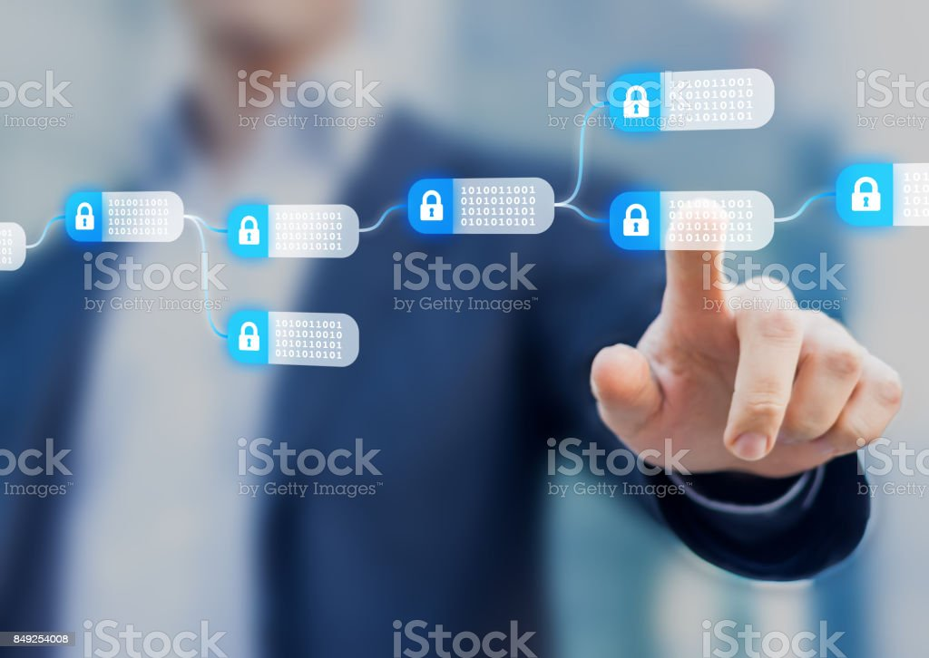 Blockchain technology concept with a chain of encrypted blocks, person stock photo